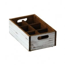Stackable White Wooden Box - 6 compartments